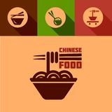 Flat chinese food icons Royalty Free Stock Photo