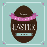 Flat chocolate Easter egg greeting card design Stock Photo