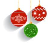 Flat Christmas Balls. Royalty Free Stock Photography