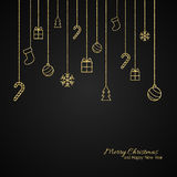 Flat Christmas greeting card with gold baubles. Black background Royalty Free Stock Photos