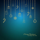 Flat Christmas greeting card with gold baubles. Blue background Royalty Free Stock Image