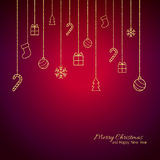 Flat Christmas greeting card with gold baubles. Red background Royalty Free Stock Image