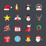 Flat christmas icon set 3, vector eps10 Royalty Free Stock Images