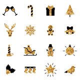 Flat Christmas Icons in Black and Gold Colors Stock Image