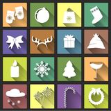 Flat Christmas Icons with Long Shadow Set Stock Photos