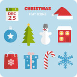 Flat Christmas icons set. Collection of bright flat style Christmas icons Royalty Free Stock Photos