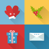 Flat Christmas icons set. Collection of flat style Christmas icons with long shadow Stock Image