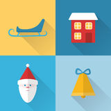 Flat Christmas icons set Royalty Free Stock Image
