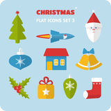 Flat Christmas icons set Royalty Free Stock Photography