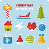 Flat Christmas icons set Stock Images