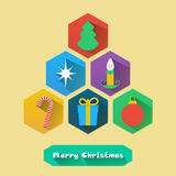 Flat Christmas Icons Stock Photo