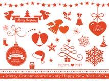 Flat Christmas icons, symbols Royalty Free Stock Photos