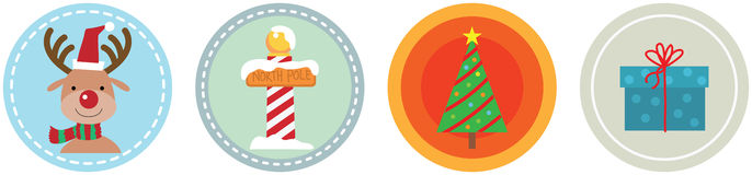 Flat 4 Christmas Icons vol 4 Royalty Free Stock Photo
