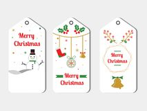 Flat Christmas Label Pack In White Style Vector stock illustration