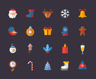 Flat Christmas and New Year icons set Royalty Free Stock Images