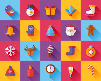 Flat Christmas and New Year icons set Stock Photos