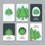 Flat christmas and new year tree background royalty free illustration
