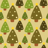 Flat christmas tree forest seamless pattern background illustration Royalty Free Stock Images