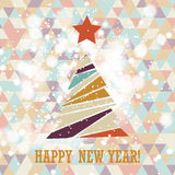 Flat christmas tree icon with triangles. Royalty Free Stock Photos