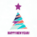 Flat christmas tree icon with triangles. Stock Photos