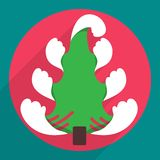 Flat christmas tree icon for web and mobile Stock Image