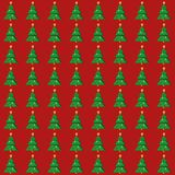 Flat Christmas tree seamless pattern. On red background.  illustration Royalty Free Stock Photography