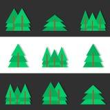 Flat christmas trees. Set of christmas trees icons Stock Image