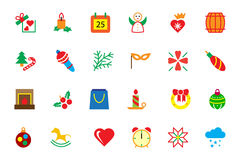 Flat Christmas Vector Icons 3 Stock Images