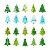 Flat christmas winter trees with festive xmas decoration vector collection Royalty Free Stock Photo