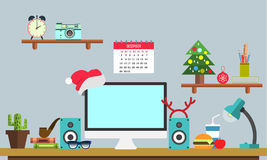 Flat Christmas workplace Web banner. Flat design illustration workspace, concepts for business, management, strategy, digital mark. Eting, finance, social Royalty Free Stock Images
