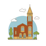 Flat Church Illustration Stock Photos
