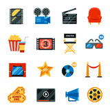 Flat Cinema Decorative Icons Set. Decorative flat cinema  icons set with film festival symbols and collection of director chair 3d glasses popkorn cd disk free Royalty Free Stock Photography