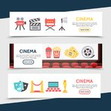 Flat Cinema Horizontal Banners. With movie camera clapboard director chair projector soda popcorn tickets film reel theater masks red carpet seats award vector Royalty Free Stock Image