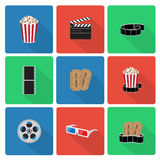 Flat cinema icons Royalty Free Stock Photography