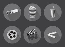 Flat cinema icons with shadows Royalty Free Stock Photography