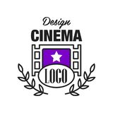 Flat cinema or movie logo template design with retro filmstrip and laurel branches. Cinematography emblem concept. Line. Flat cinema or movie logo template Royalty Free Stock Image