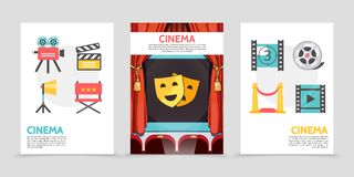 Flat Cinema Posters. With movie camera clapboard projector director chair filmstrip red carpet film reel theater masks on screen vector illustration Stock Image