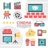 Flat Cinematography Icons Collection. With filmstrip movie camera clapboard cinema hall film reel eyeglasses tickets soda popcorn projector television set seats Stock Photography