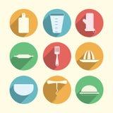 Flat circle icons for kitchenware Stock Image