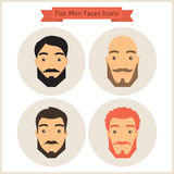 Flat Circle Men with Beard Faces Icons Set Royalty Free Stock Photo