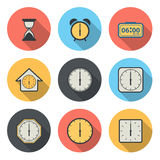 Flat Circular Icon for Clock and Time Concept Royalty Free Stock Images