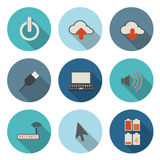 Flat Circular Icon for Internet Computer Technology Concept Stock Photo