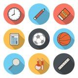 Flat Circular Icon for Sport Schhol Science Concept Stock Photos