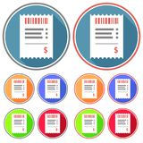 Flat, circular receipt icon. Two versions, five color variations. Isolated on white Stock Photo