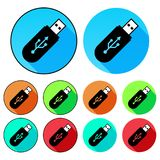 Flat, circular USB drive icons. Vivid colours. With and without an outline vector illustration
