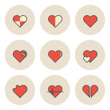 Flat Circulation Icon for Heart Love and Valentine Concept Royalty Free Stock Photos