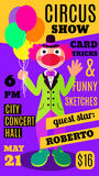 Flat circus background with clown with baloons Royalty Free Stock Images