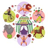 Flat Circus Round Concept Stock Image