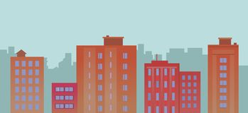 Flat City Buildings On Blue Background Stock Photo