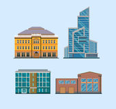 Flat City Buildings Stock Photo